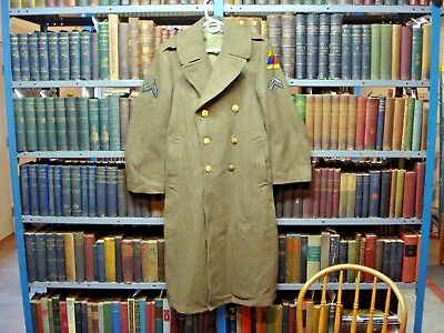 Vintage WWII U.S. Army 2nd Armored Div HELL ON WHEELS Long Wool Trench Coat 36 R
