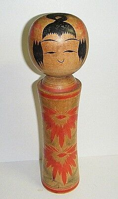 """Signed 8 1/2"""" Tall Antique Japanese Kokeshi Doll Wooden Hand Painted"""