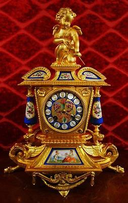 Antique 19th c French Japy Freres gilt & Sevres porcelain Figural mantle clock