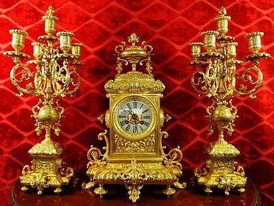 Superb antique 19th c French solid gilt brass 3 piece mantle clock garniture set