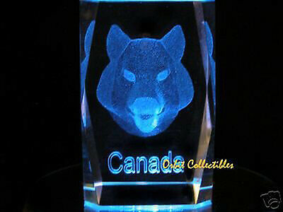 "3"" 3D LASER CRYSTAL Canada Wolf Howling + Free Light Base"