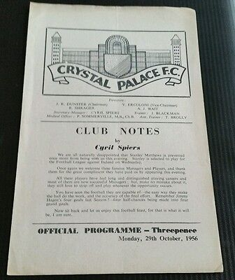 Crystal Palace v Managers XI Friendly Programme 29/10/56