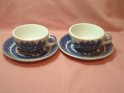 2 sets Shenango China Blue Willow Cups and Saucers