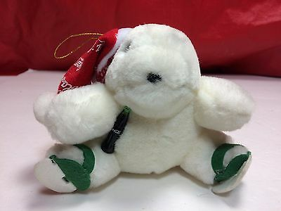 "1998 Coca Cola Polar Bear Plush. 4"" ornament. Coke"