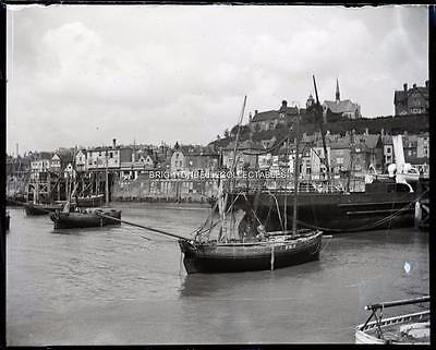1909 Kent Folkestone Harbour Fishing Boats Unpublished Glass Plate Negative