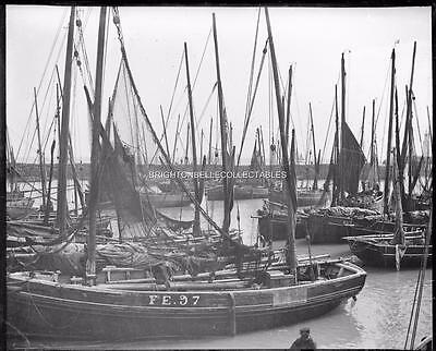 1909 Kent Folkestone Harbour Fishing Boats Unpublished Glass Plate Negative (#3)