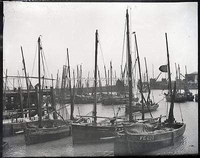1909 Kent Folkestone Harbour Fishing Boats Unpublished Glass Plate Negative (#4)