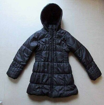 M&S Marks & Spencer Girls Long Black Padded Puffa Warm Winter Coat Age 7-8 Years