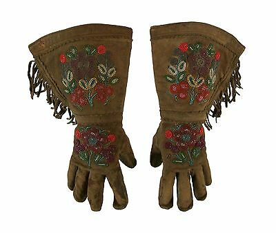 Native American Yakima Beaded Buckskin Gauntlet Gloves - US - Early 20th Century