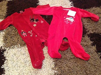 BNWT - 2 Unisex Christmas Sleepsuits 0-3 Months -