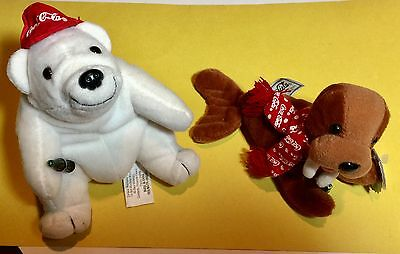 Coca Cola Polar Bear with baseball cap/ Walrus with scarf beanie bean bag animal