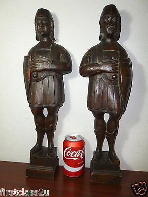 Antique Pair Carved Wood Figural Architectural Finials / Mounts.