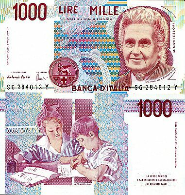 ITALY 1000 Lira Banknote World Paper Money UNC Currency Pick p-114c Montessori