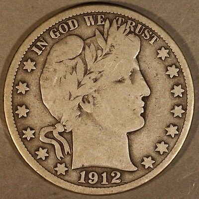 1912 D Barber Half Dollar 50c Silver Circulated        ** Free U.S. Shipping **
