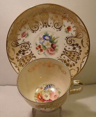 19th Century Hand Painted Floral Cup And Saucer