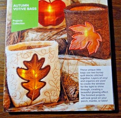 Anita Goodesign Embroidery Designs Projects Collection Autumn Votive Bags - New