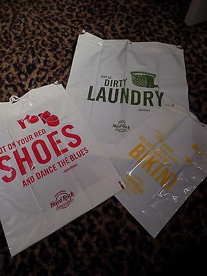 HARD ROCK CAFE LAUNDRY BAGS Plastic Drawstring Don Henley David Bowie Itsy Bitsy