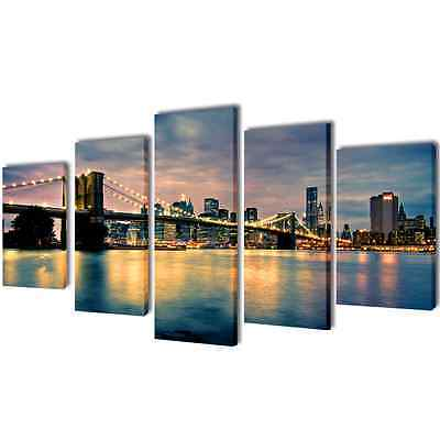 Set of 5 Brooklyn Bridge River Canvas Prints Framed Wall Art Painting 100x50cm