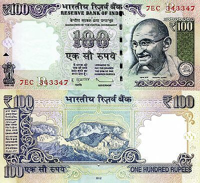 """INDIA 100 Rupees Banknote World Paper  Money UNC Currency Pick p-105e Gandhi """"R"""""""