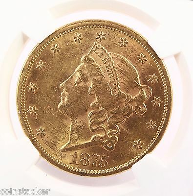 1875-S Liberty $20 NGC Certified AU58 About Uncirculated San Francisco Gold Coin