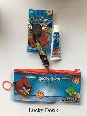 Firefly Angry Birds Bomb Bird Toothbrush Travel Kit w/ Cap, Toothpaste and Floss