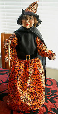 "SPOOKTACULAR HALLOWEEN WITCH DOLL FIGURE with BROOM 25"" WOW!"