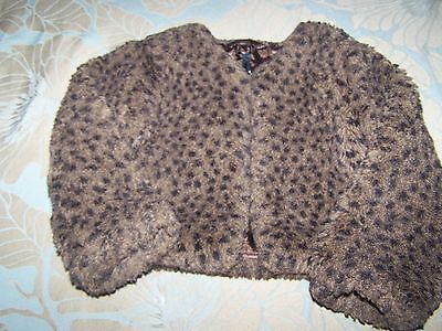 Beautiful Girls Thick Brown Animal Printfur Shrug/jacket From Next Age 3 Years