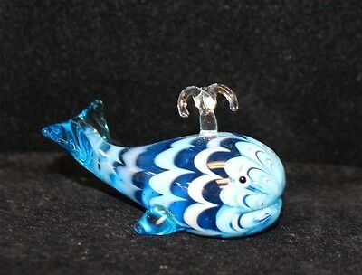 Blue Swirl Molded Glass Whale Figurine / Paperweight Collectible Sea life