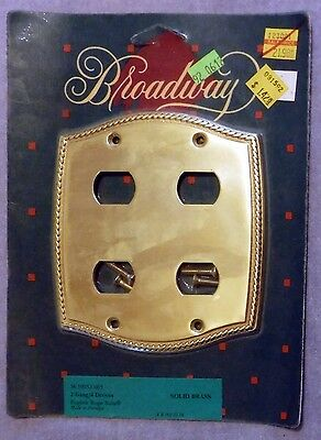 Vintage NOS Broadway 2 Gang 4 Devices Solid Brass Cover Plate English Rope
