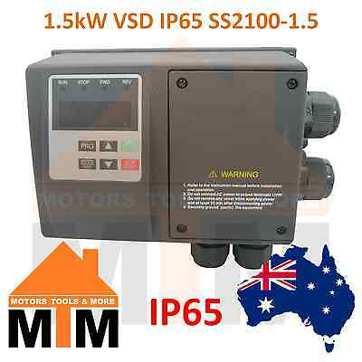 Single Phase 1.5kW VSD Variable Speed Frequency Drive IP65 Water resistant