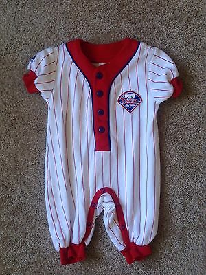 Majestic Phillies Baseball Baby Boy One Piece Romper Outfit Size 3-6 Months