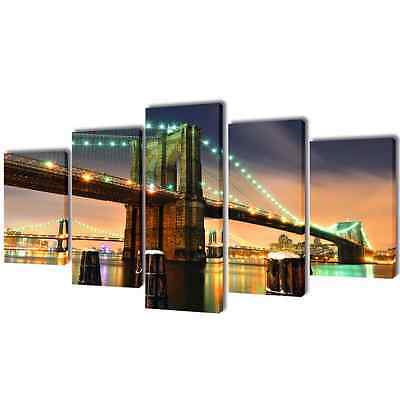 S# Set of 5 Brooklyn Bridge Canvas Prints Framed Wall Art Decor Painting 100x50c