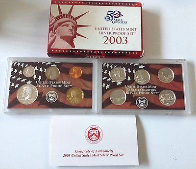 2003 United States Mint Silver Proof Sets - 10 Coins In 2 Cases