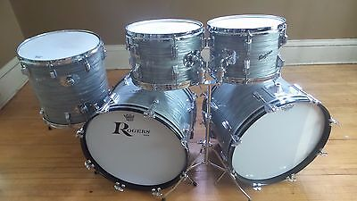 Vintage 1960's Rogers Steel Grey Ripple Holiday 4 Piece Drum Kit