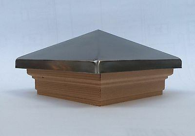 NEW Premium 4x4 post cap, metal or cedar top, cedar trim, stainless, silver vein