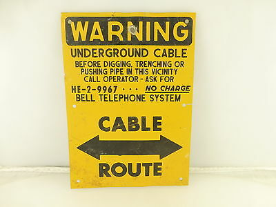 Vintage Bell Telephone System Underground Cable Route Warning Sign