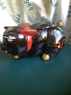 Vintage Red Clay Pig Piggy  Bank With Red Bowl & Flowers Painted On