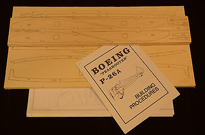 "1/5 Scale Royal Boeing P-26A PEASHOOTER Laser Cut Short Kit, Plans & Inst 67"" WS"