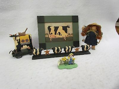 Lot of 4 Cow Themed Items with One Lizzie High Little Ones Doll