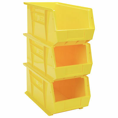 1 x Yellow Open Front Storage Hard Plastic Stackable Containers Bin No4 Medium