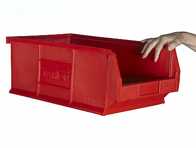 Red Open Front Storage Hard Plastic Stackable Containers Bins No5 Large