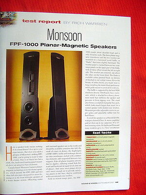"""Monsoon FPF-1000 planar-magnetic loudspeakers test review """"Sound & Vision"""" 2001"""