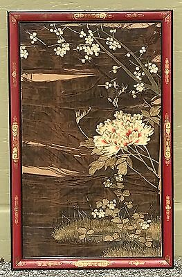 Antique Painted Japanese Frame Flowers Panel Textile Embroidery – Damaged
