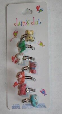 NWT Claire's Club 7 Pack Of Fuzzy Animal Adjustable Rings Owl Cat Monkey Puppy