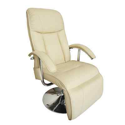 Leather Massage Chair Recliner Electric Remote Control Stretching White Office