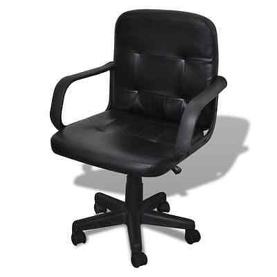 Black Leather Office Chair Adjustable Computer Desk Swivel Base Bar Armchair