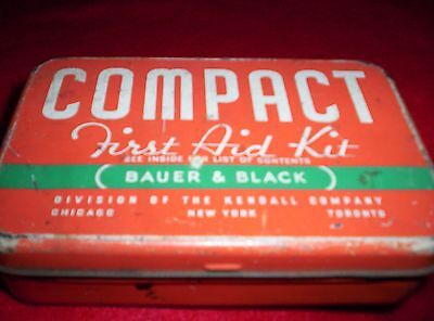 Vintage Bauer & Black Compact First Aid Kit Tin with Kendall Company 1940's