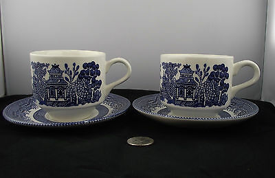 2 Vintage Churchill Blue Willow  Coffee Or Tea Cups And Saucers