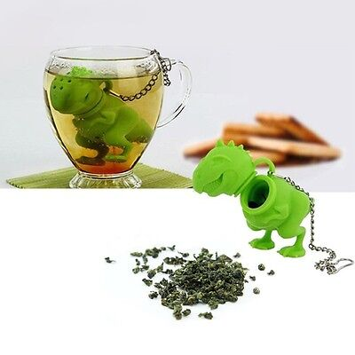 Cute Dinosaur Silicone  Infuser Strainer Holder Punch Coffee Tea Infuser Filter