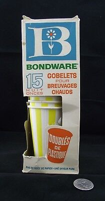 Vintage Bondware Hot Drink Cups Yellow Banded Plastic Lined New Toronto